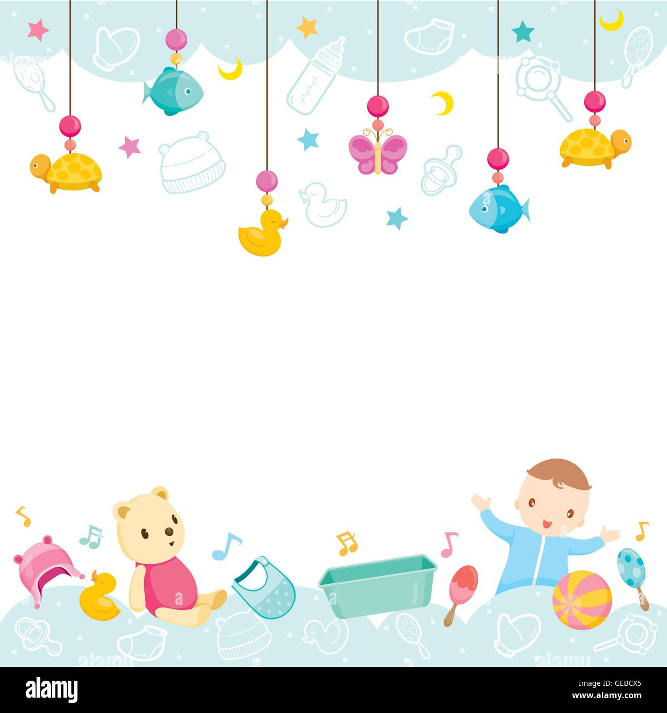 Baby Icons And Objects Background Accessories Frame