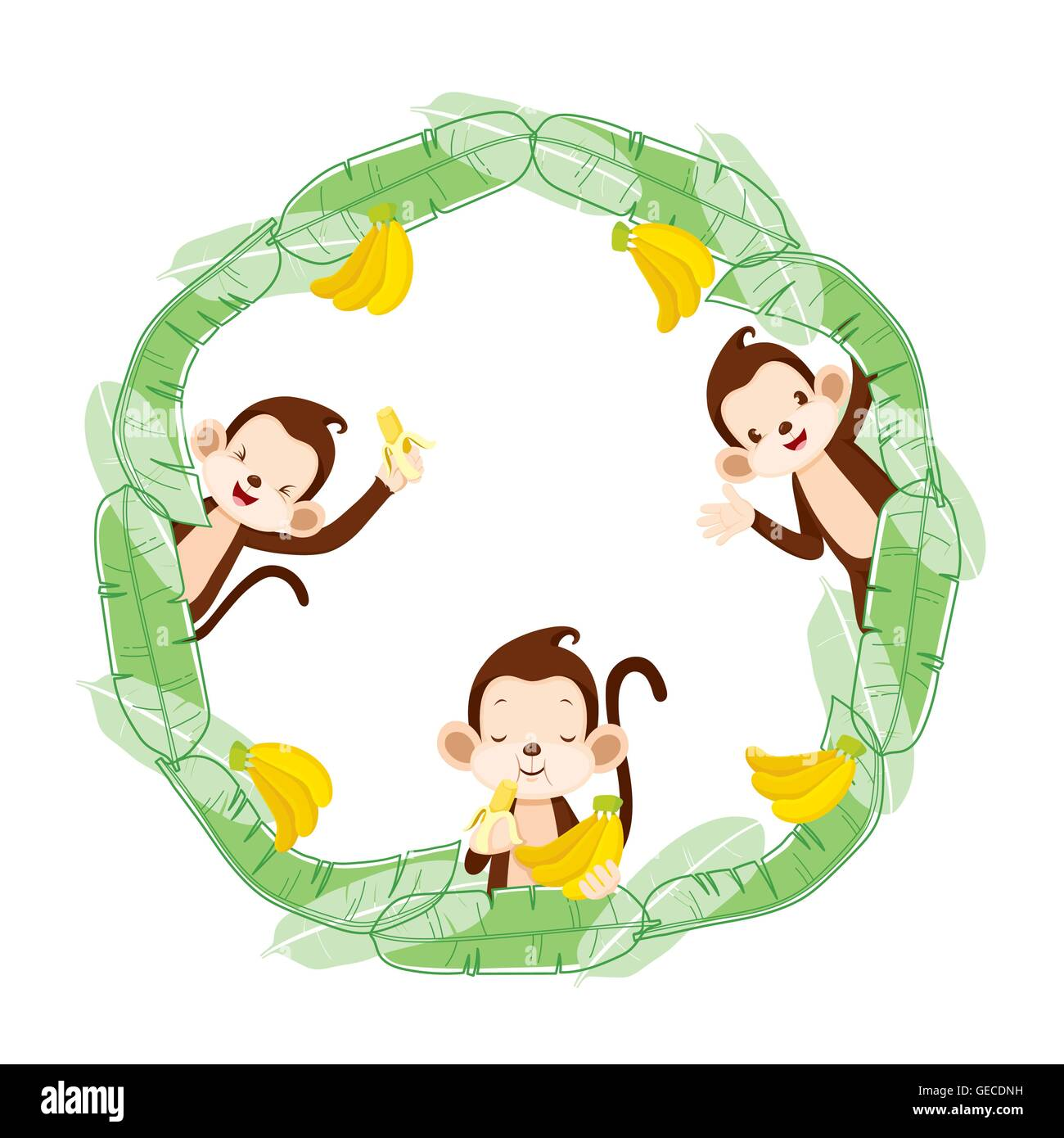 monkey and banana on circle frame animal celebration festive anniversary - Monkey Picture Frame