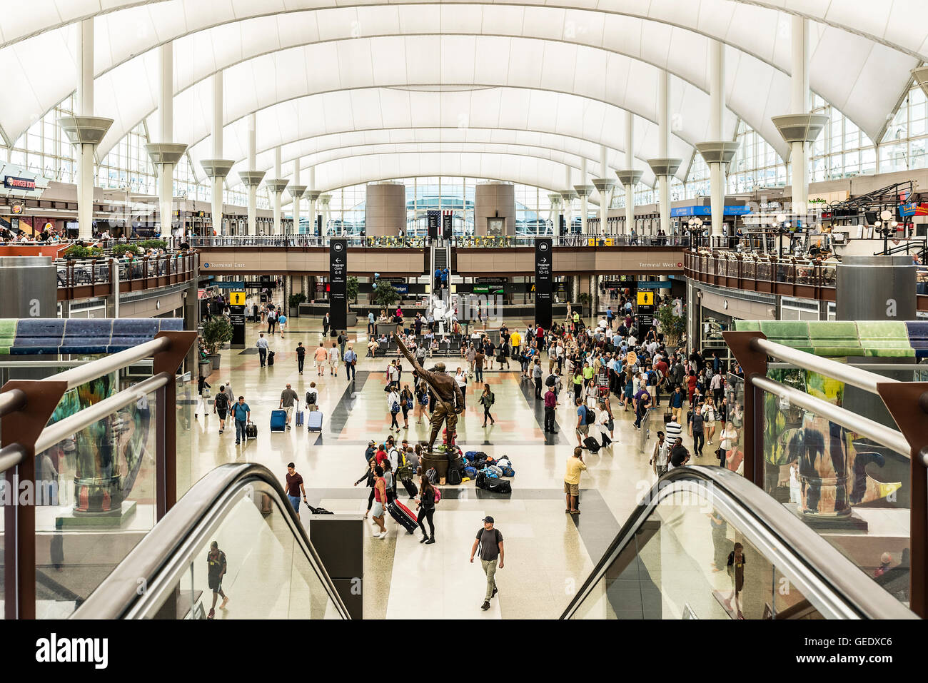 Denver Airport Terminal Colorado Usa Stock Photo