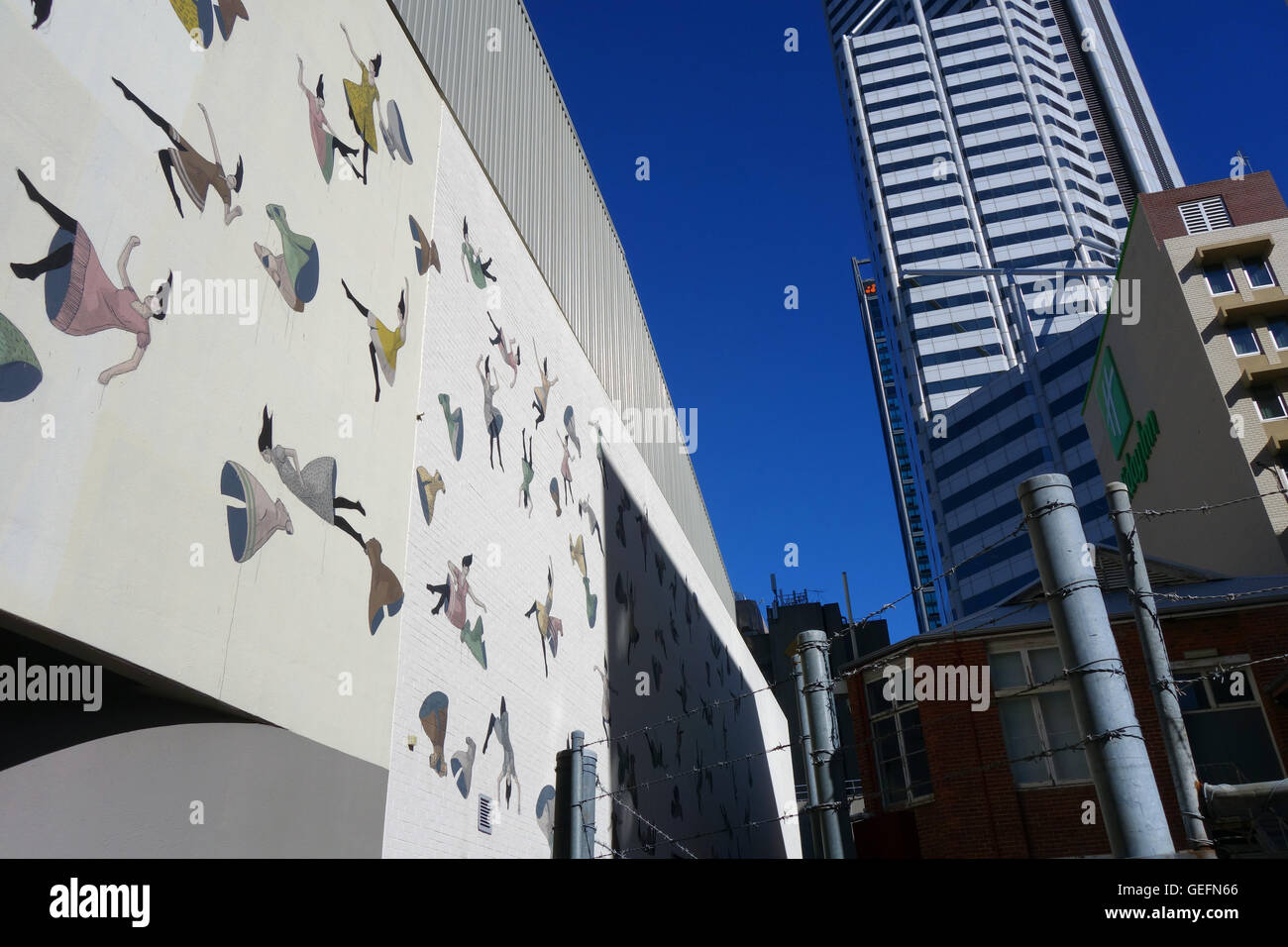 Wall Murals Perth Mural Of Falling Women And Clothing Wolf Lane Perth Cbd