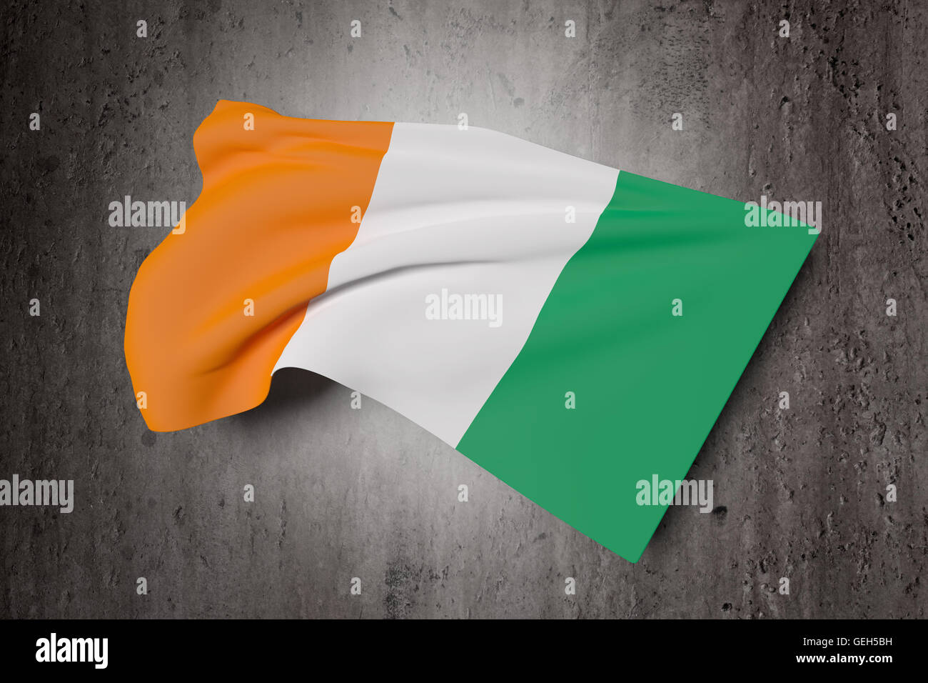 3d rendering of ivory coast flag waving on a dirty background