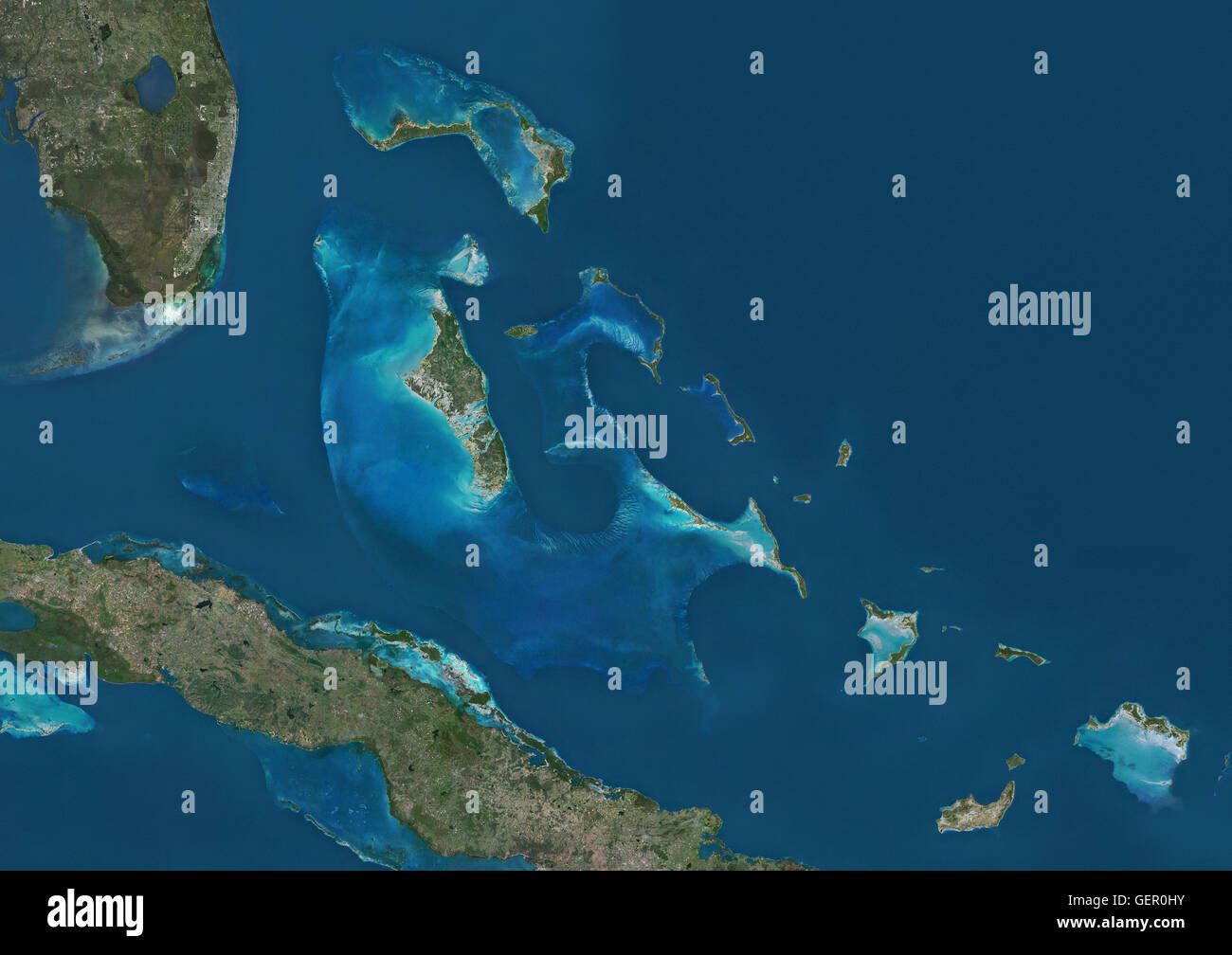 Satellite View Of The Bahamas It Consists Of More Than 700 - Satellite Map Of Southeast Us