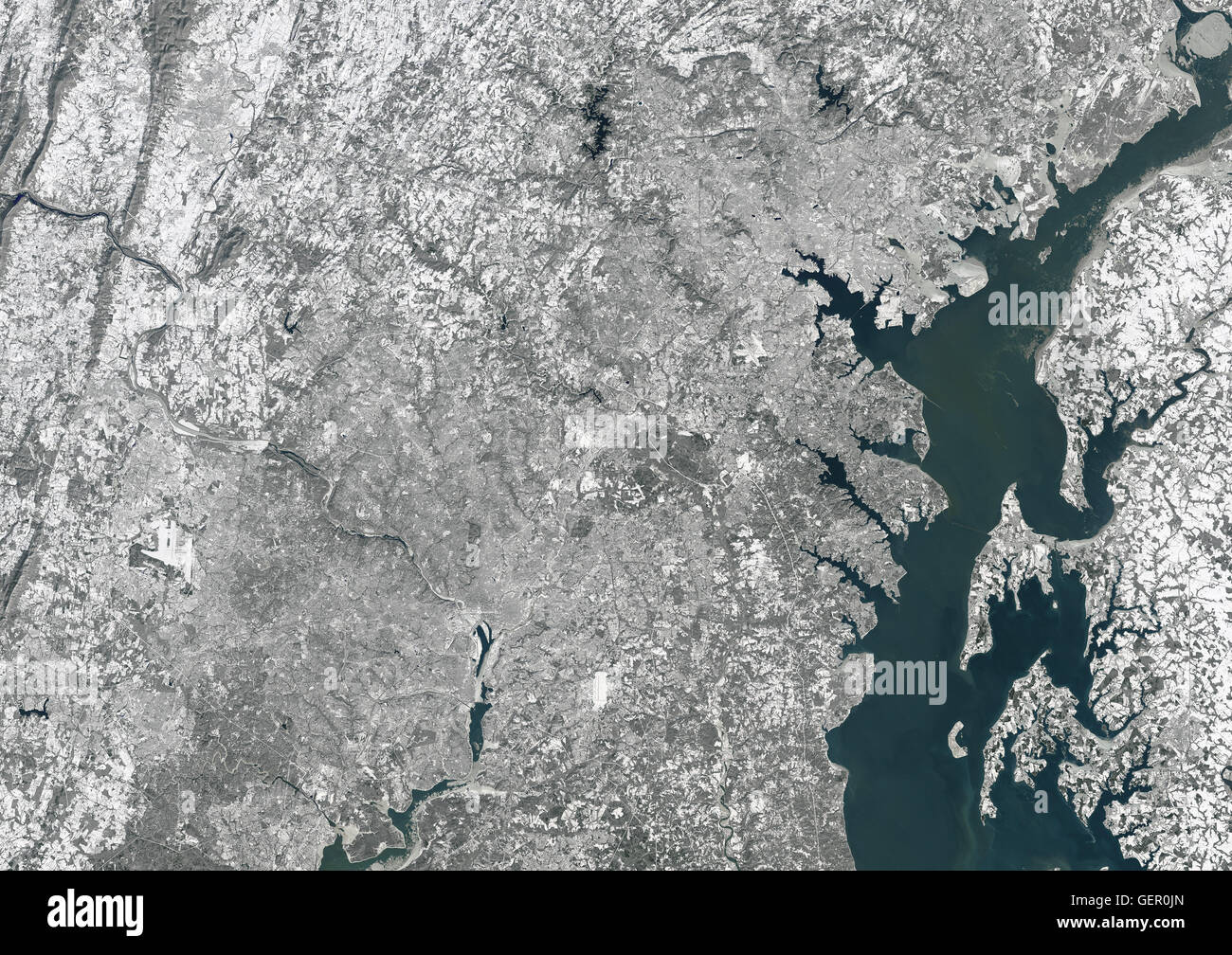 Satellite View Of Washington Dc And Baltimore Covered With Snow Usa This Image Was Taken On 24 January 2016 By Landsat 8 Satellite