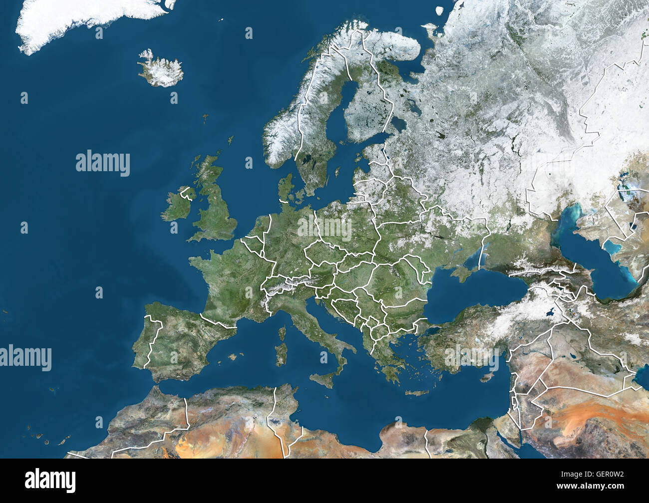 Satellite View Of Europe In Winter With Partial Snow Cover With - Europe satellite map