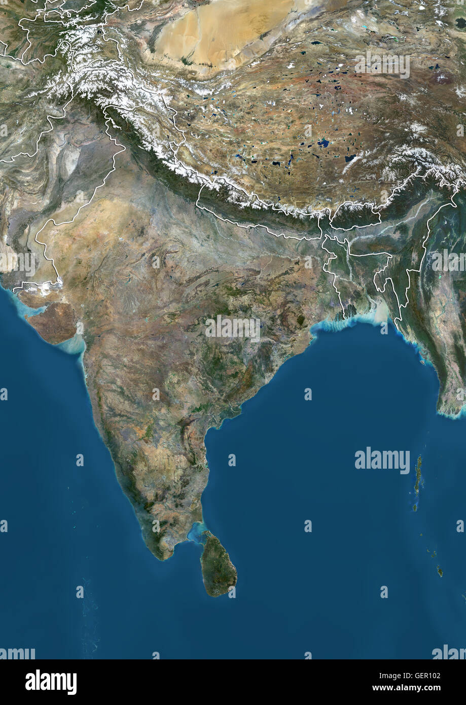 Satellite View Of The Indian Subcontinent With Country Boundaries - World satellite map 2014
