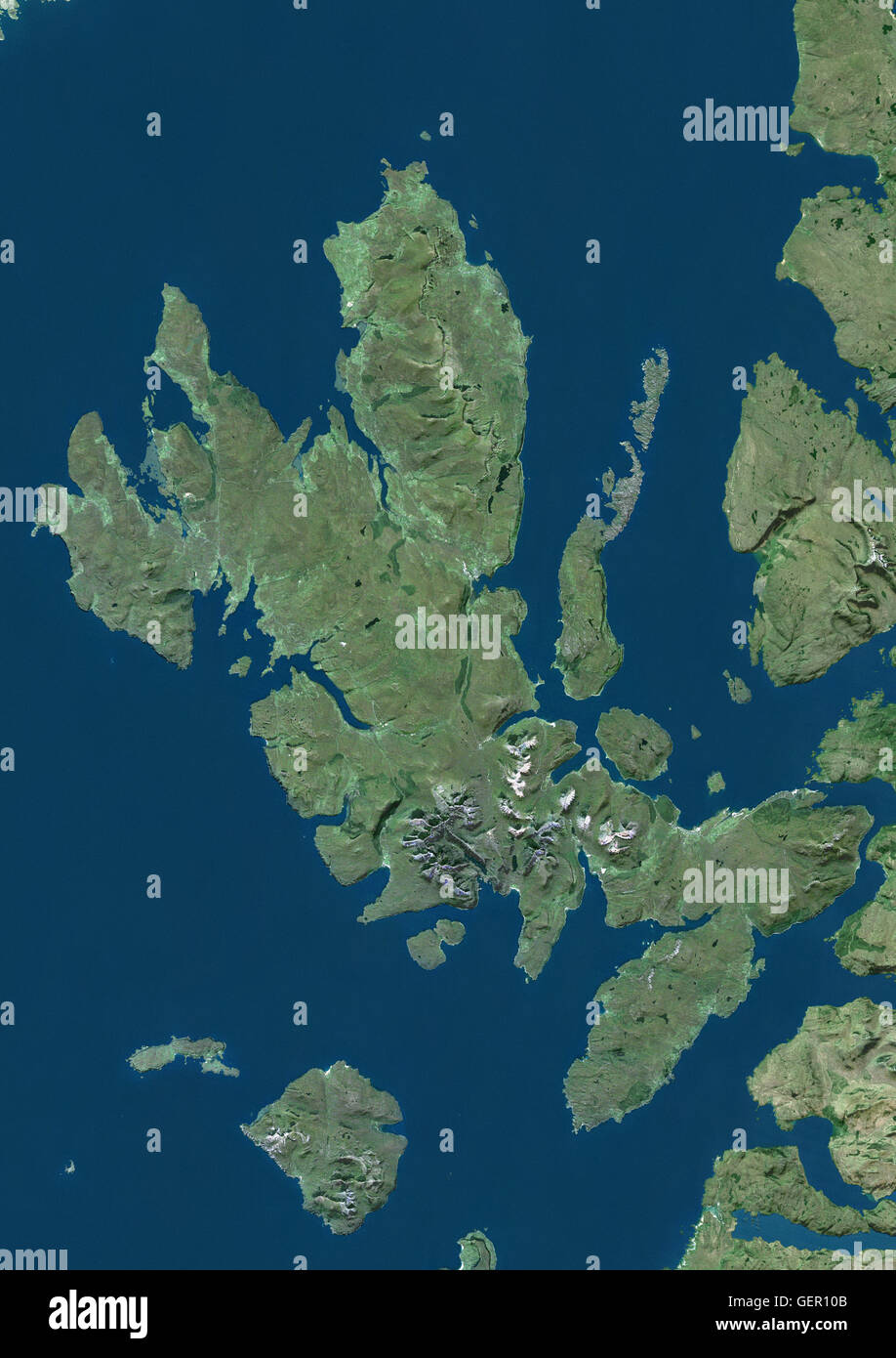 Satellite view of the Isle of Skye Scotland It is the largest