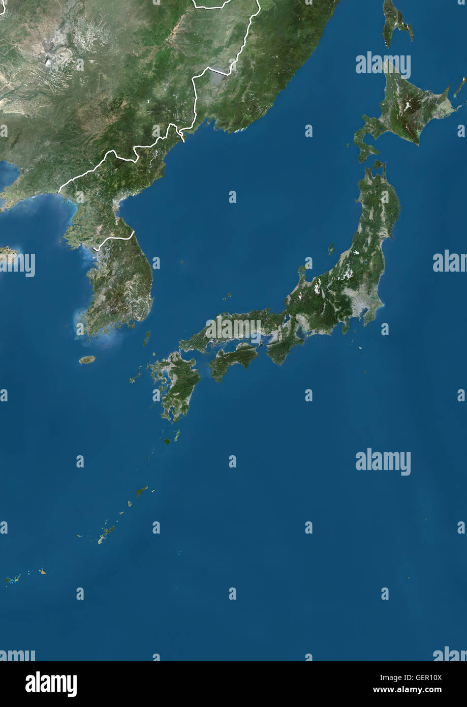 Satellite View Of Japan South Korea And North Korea With Country - Japan map satellite