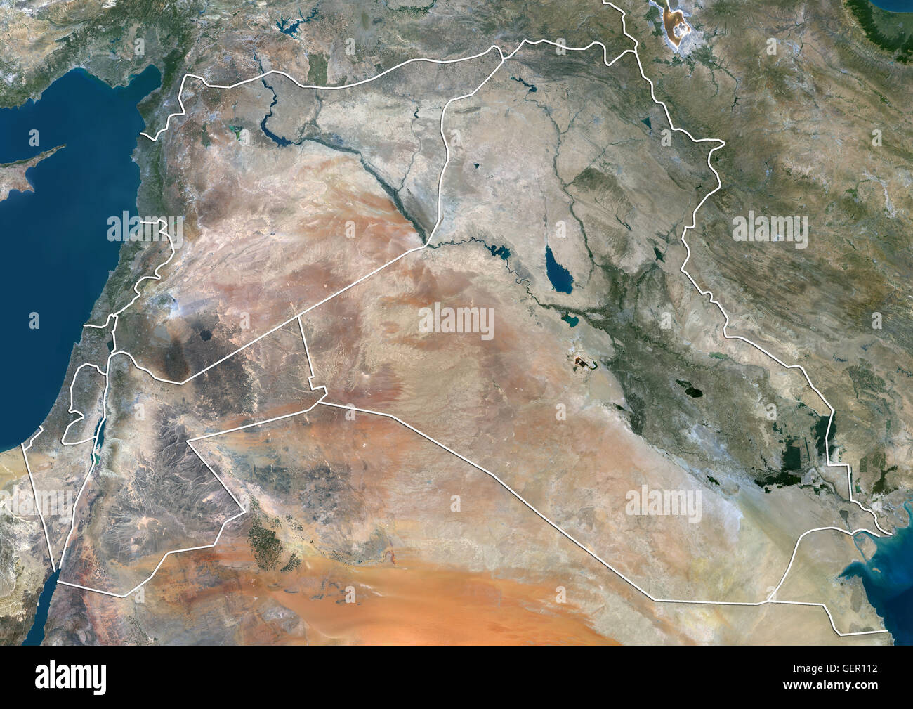 Satellite View Of Syria Iraq And Jordan With Country Boundaries - World satellite map 2014