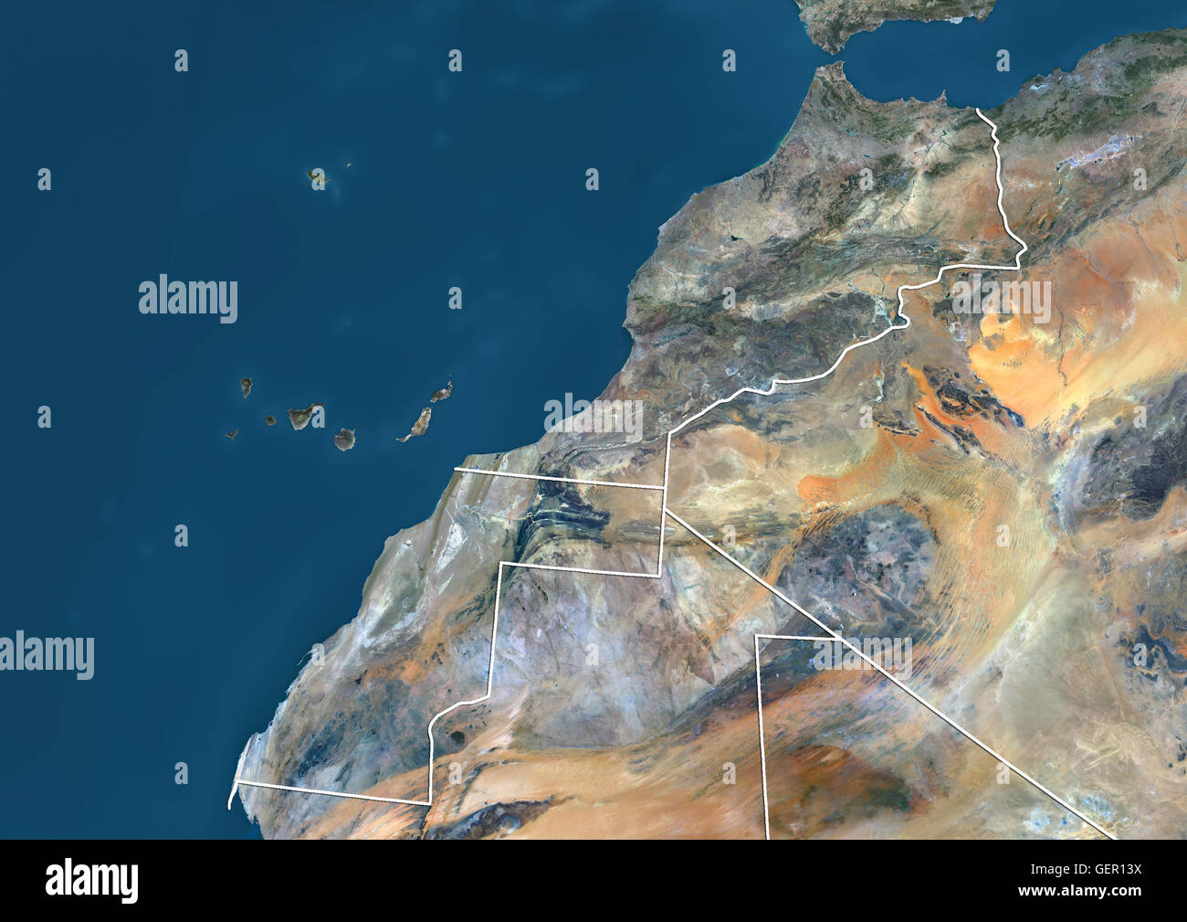 Africa Physical Map 2014 Satellite view of Moro...