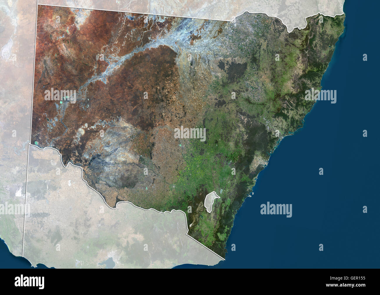 Satellite View Of New South Wales Australia With Administrative - World satellite map 2014