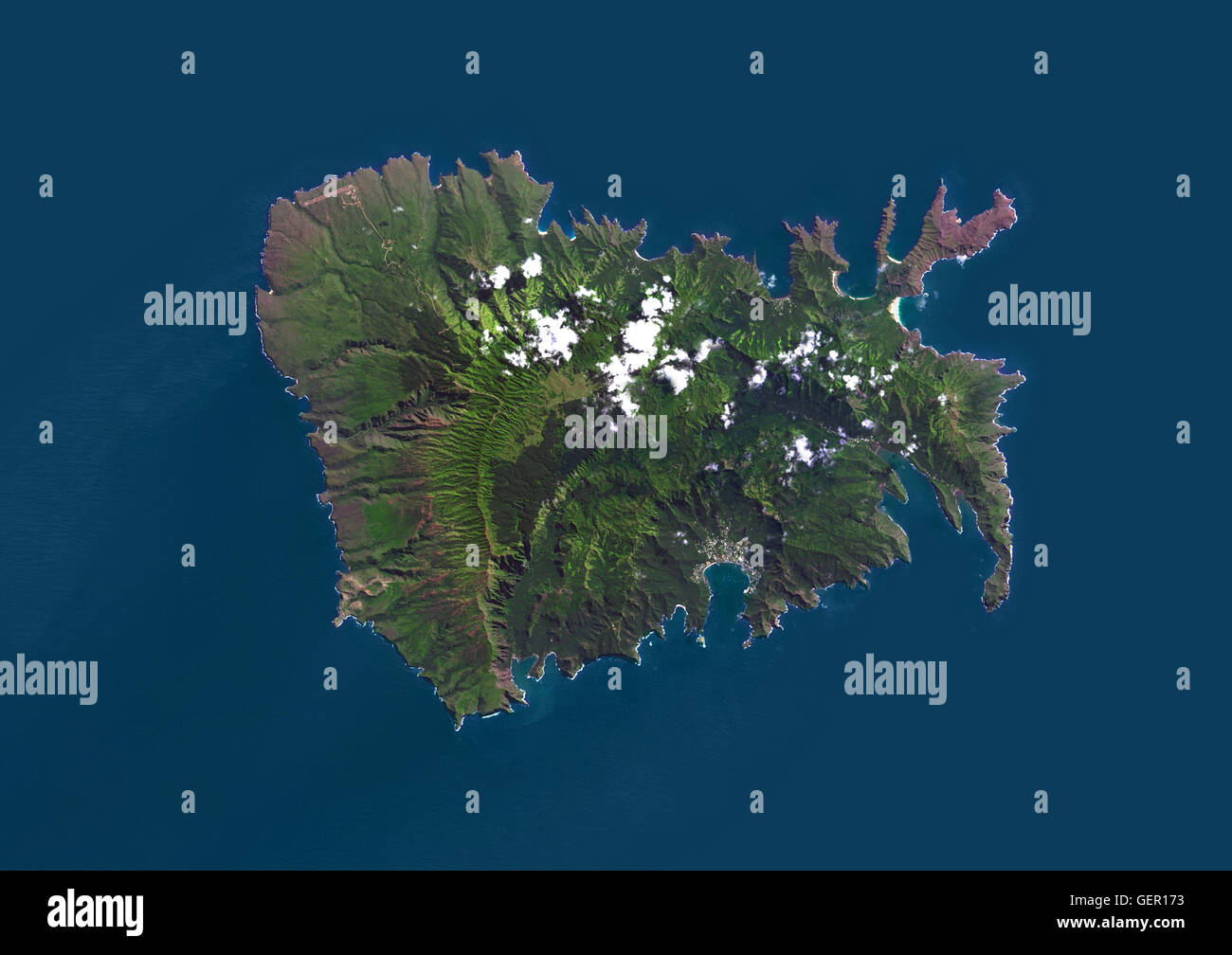 Satellite View Of Nuku Hiva The Largest Of The Marquesas Islands - World satellite map 2014
