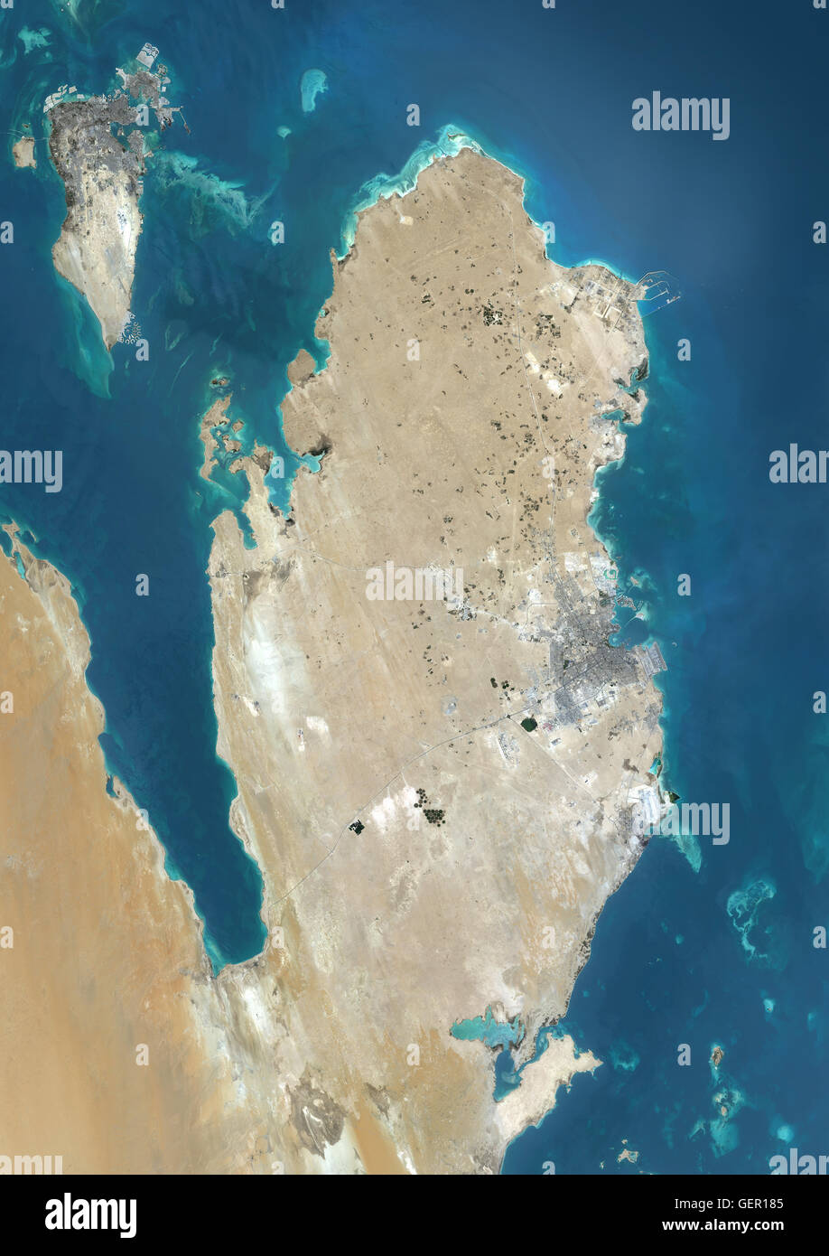 Satellite View Of Qatar And Bahrain This Image Was Compiled From - World satellite map 2014