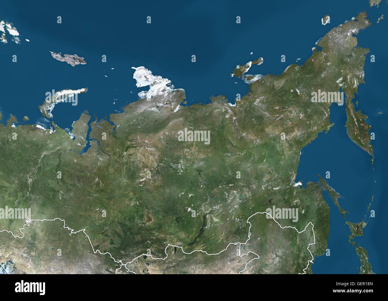 Satellite view of Siberia Russia with country boundaries This