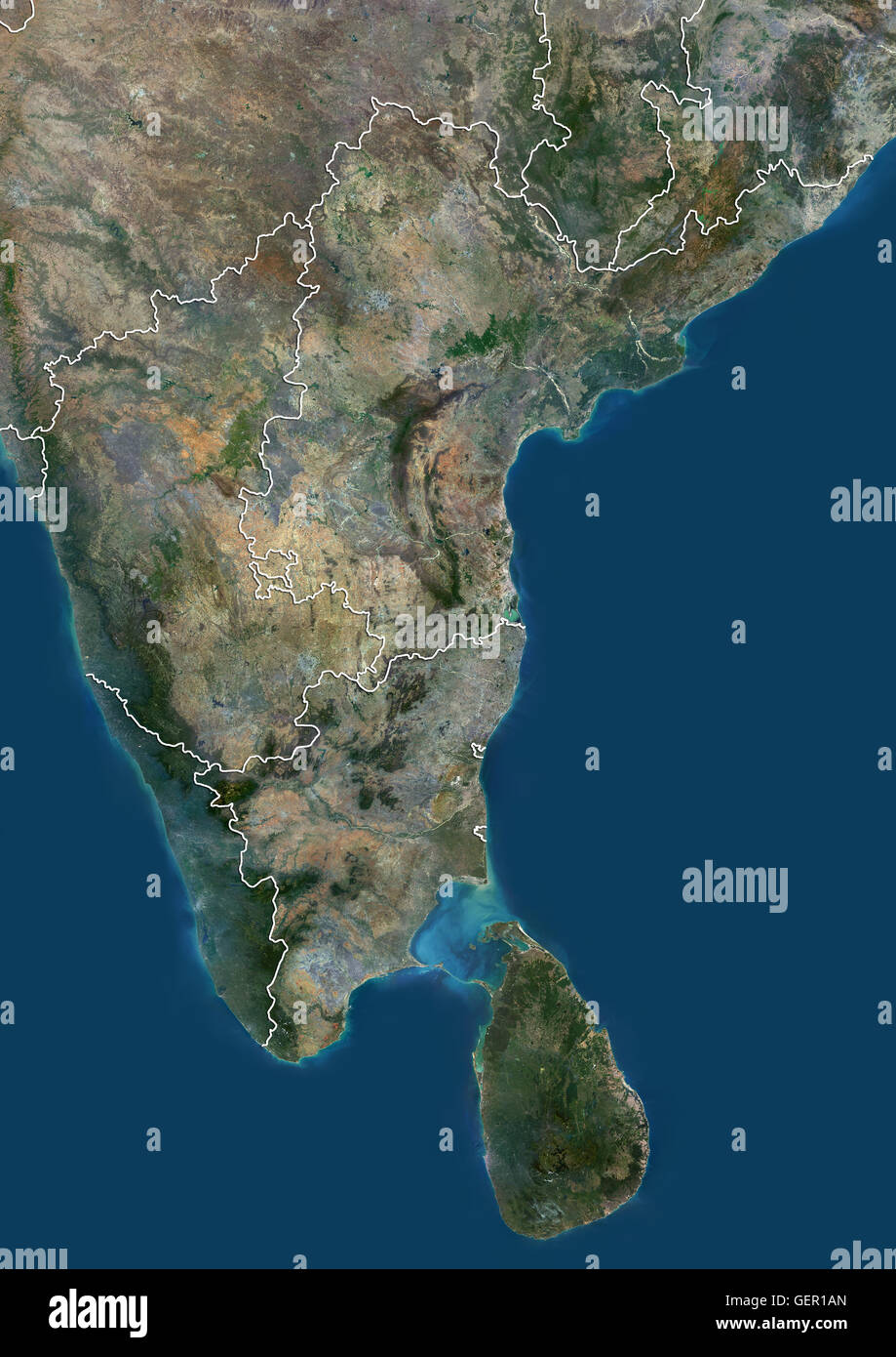 Satellite view of South India and Sri Lanka with administrative