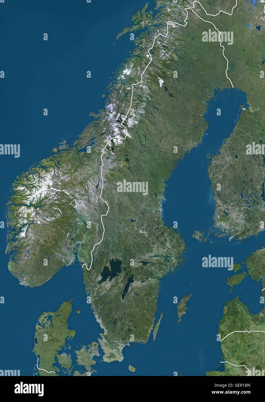 Satellite View Of Sweden With Country Boundaries This Image Was - Sweden map satellite