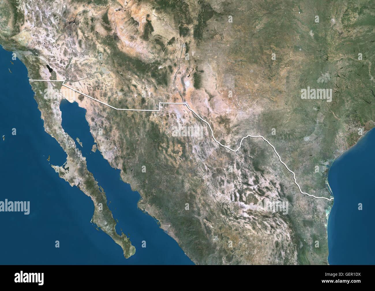 Satellite View Us Mexico Border Stock Photos Satellite View Us - Map us mexico border