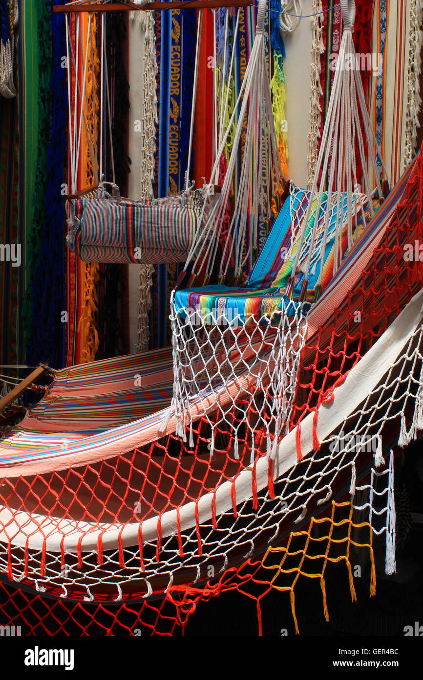colorful hammocks in various styles and patterns for sale at the outdoor craft market in otavalo ecuador colorful hammocks in various styles and patterns for sale at the      rh   alamy