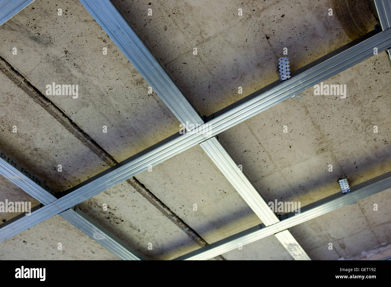 suspended ceiling structure, before installation of gypsum stock