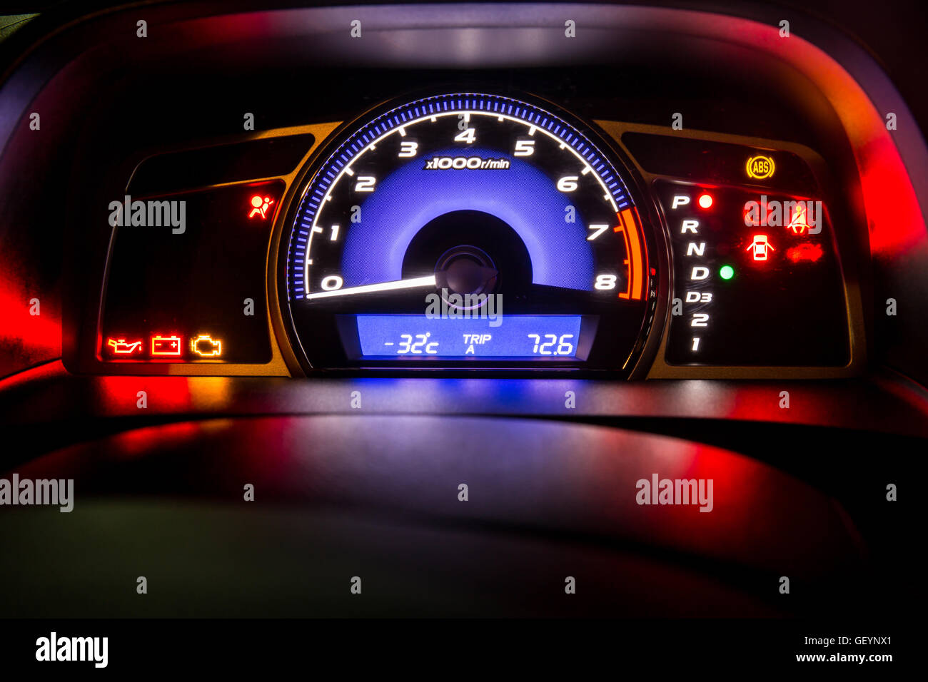 Modern Car Instrument Dashboard Panel Full Symbol In Night Time - Car image sign of dashboardcar dashboard icons stock photospictures royalty free car