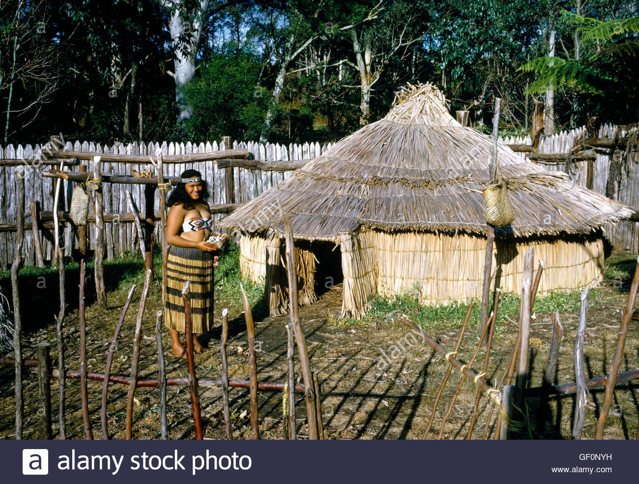 Maori Village: New Zealand Keri Keri Maori Village Stock Photo, Royalty