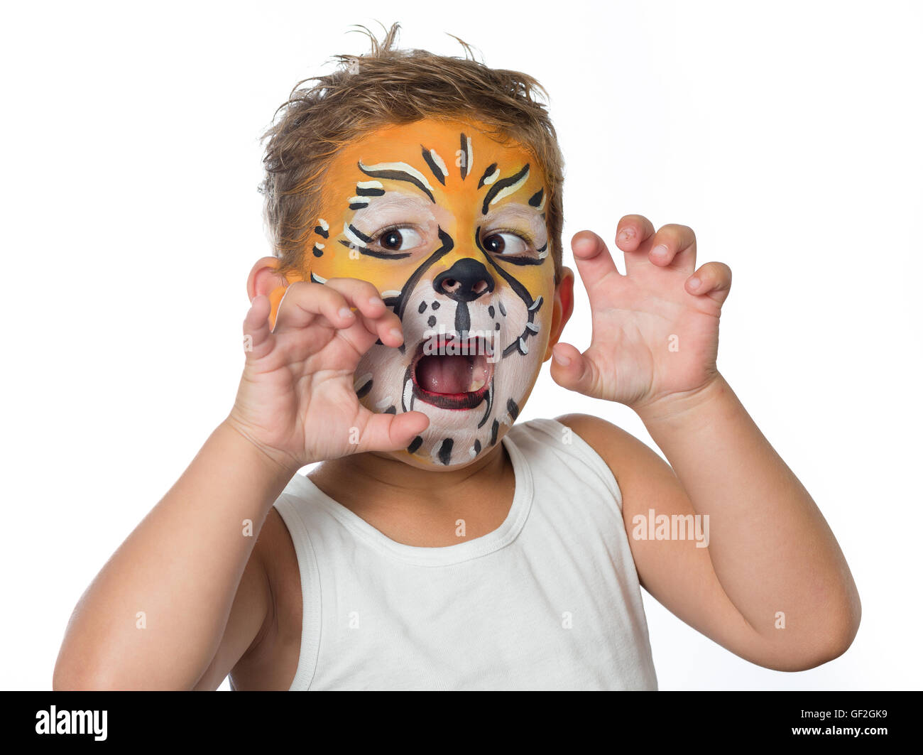 Safari lion face painting happier singapore makeup tips carnival lovely boy child with face painting of a tiger or a lion baditri Image collections