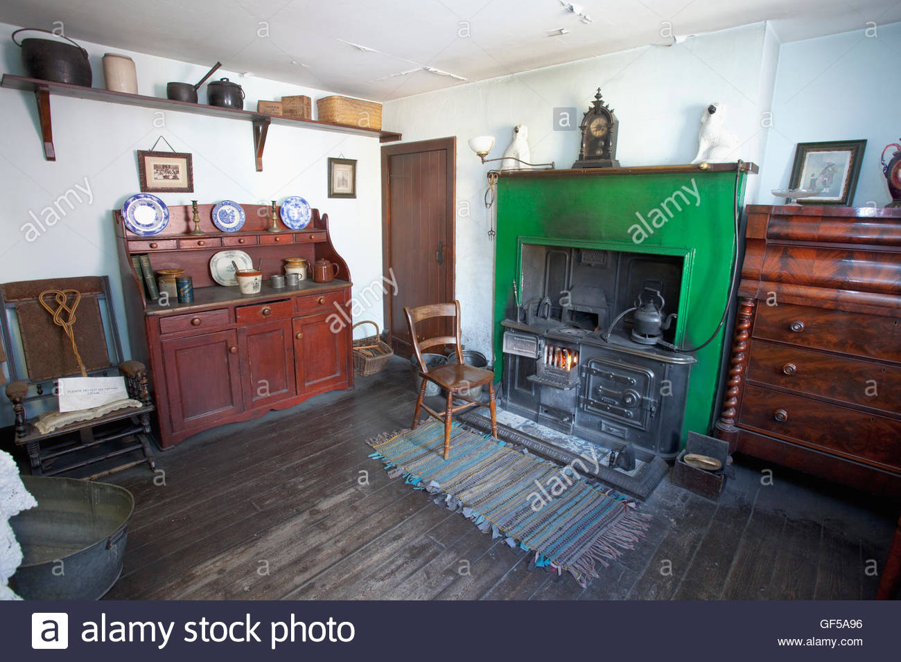 Interior Of A Miners Cottage At Summerlee Museum Scottish Industrial Life Coatbridge North Lanarkshire Scotland