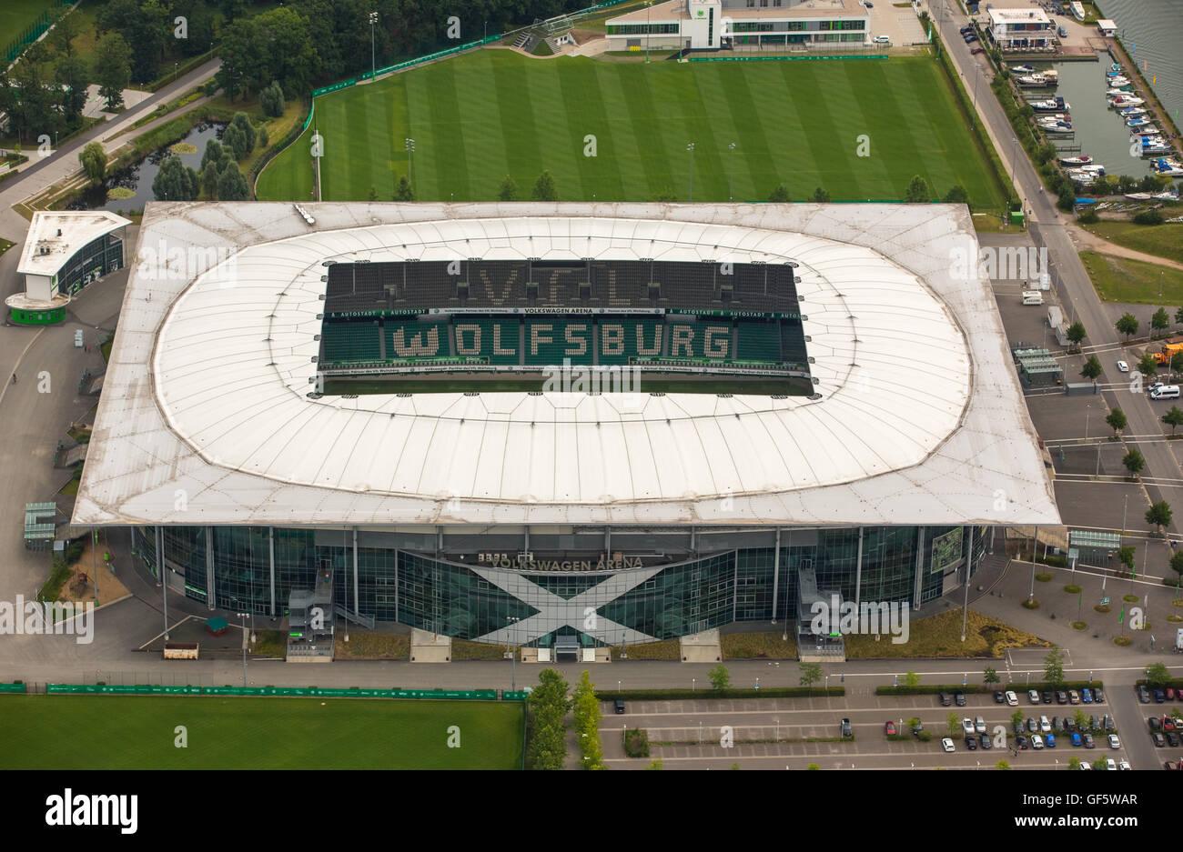 aerial view volkswagen arena of wolfsburg bundesliga. Black Bedroom Furniture Sets. Home Design Ideas