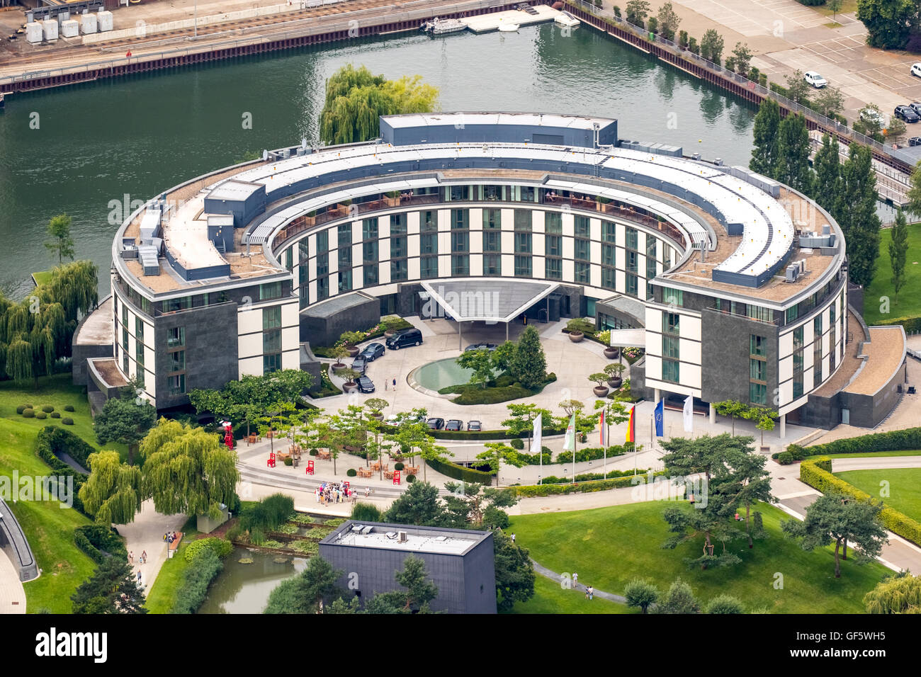 aerial view volkswagen factory wolfsburg autostadt and ritz carlton stock photo royalty free. Black Bedroom Furniture Sets. Home Design Ideas