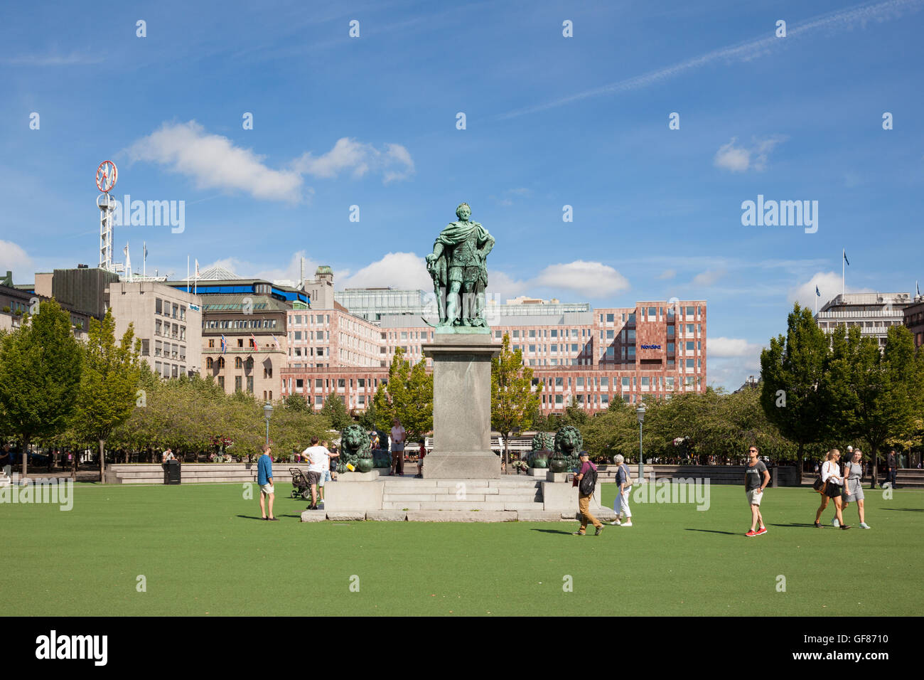 Stockholm, Sweden - Jul 27, 2016 : Front view of the Karl XIII, Charles XIII, statue at the Kungstradgarden, Stockholm