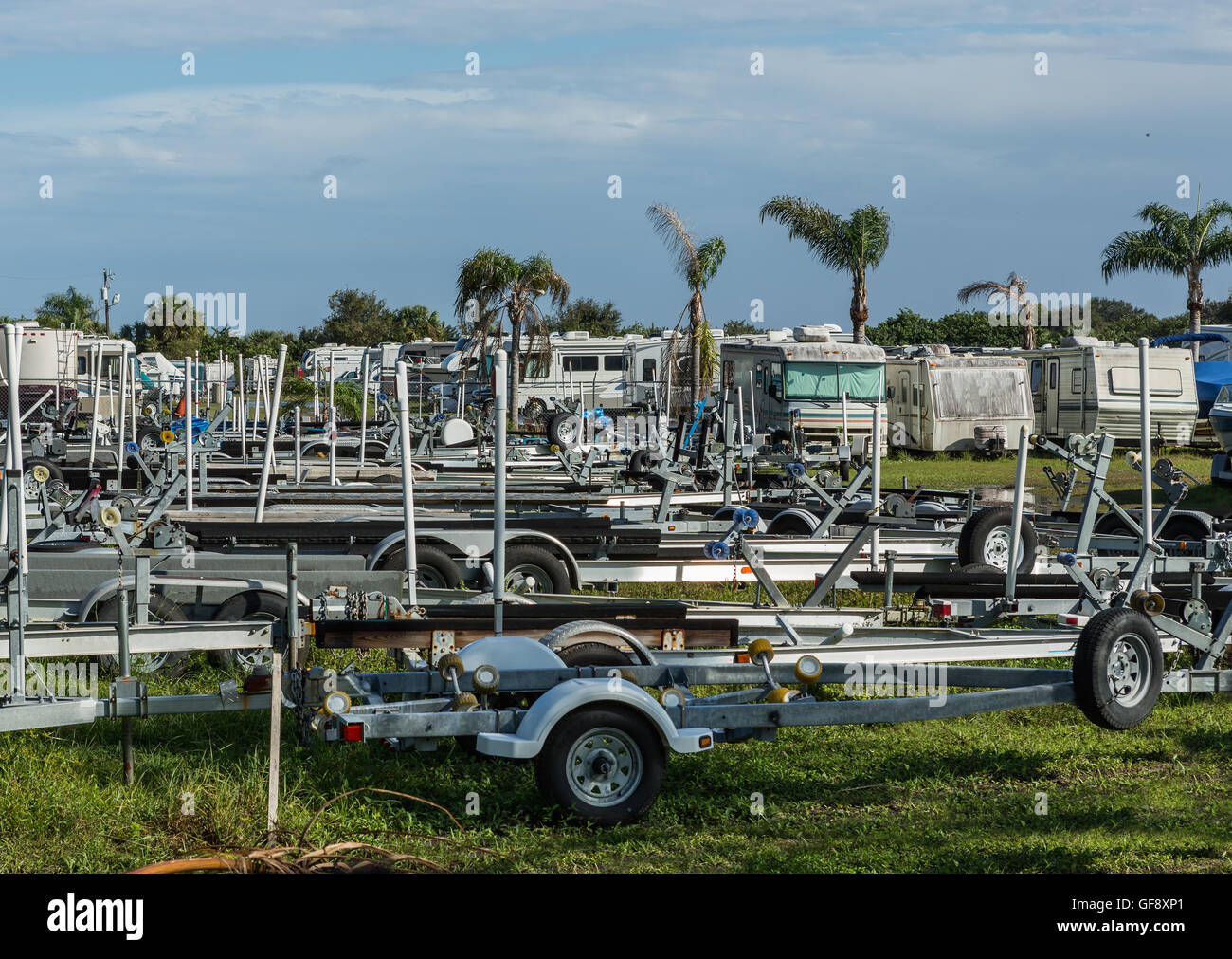 old cars, trucks and boats for sale, junkyard cars in Florida Stock ...