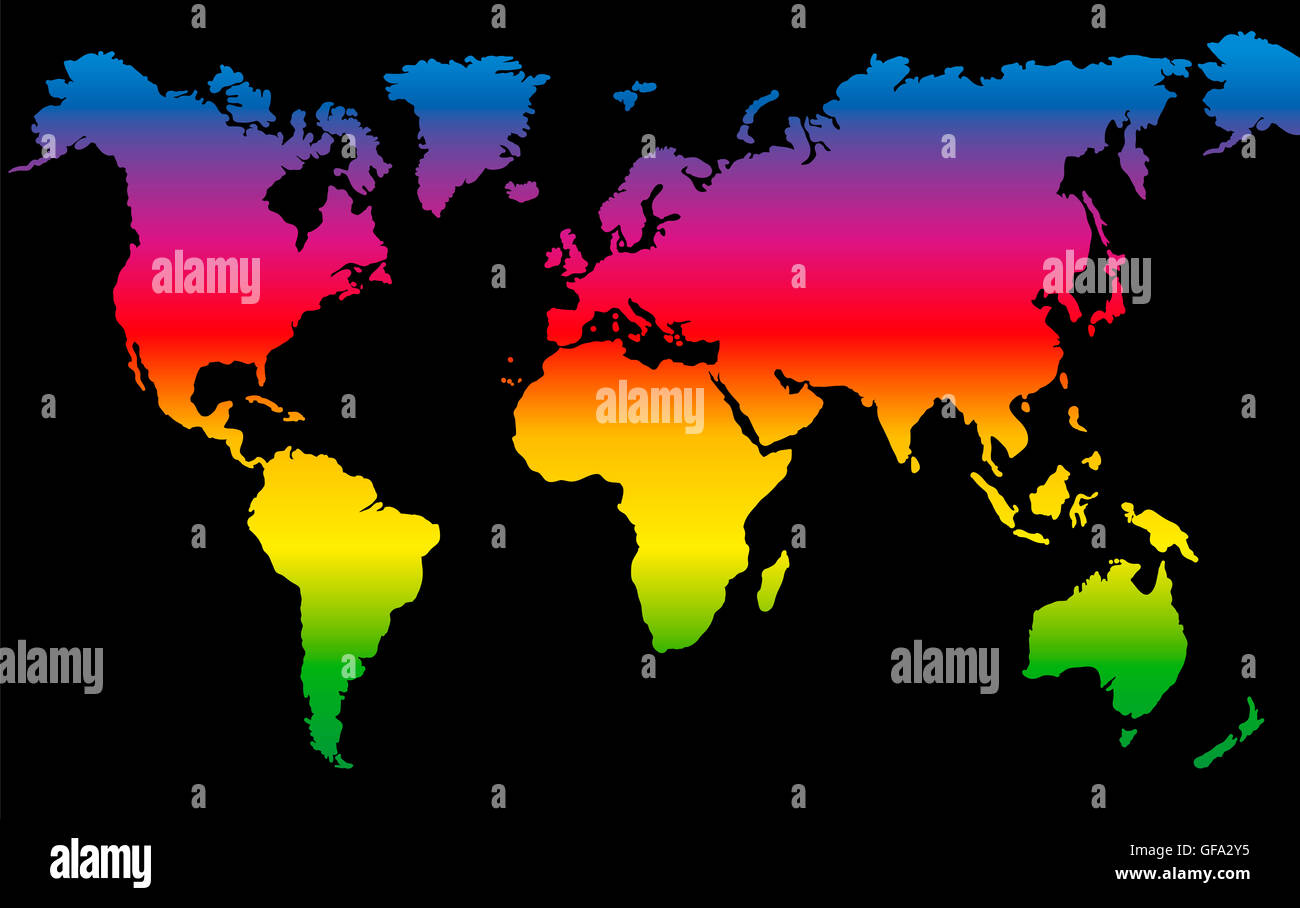 Rainbow colored world map on black background stock photo royalty rainbow colored world map on black background gumiabroncs Images