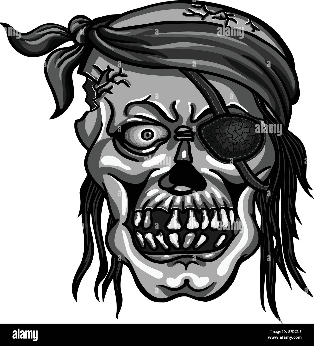 danger pirate skull in bandanna without one eye for tattoo or t