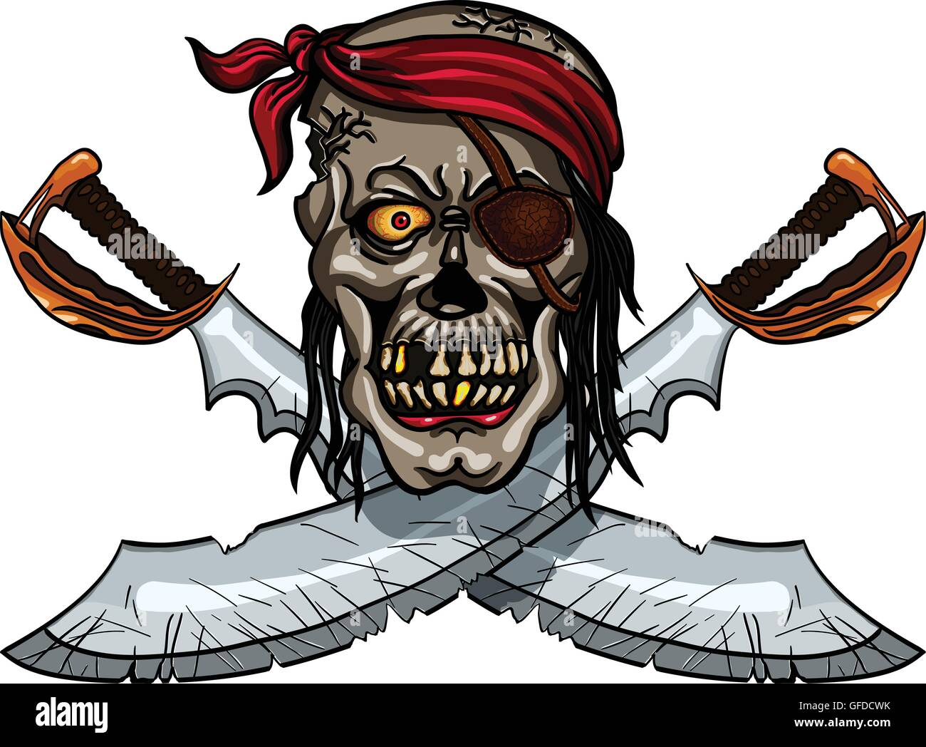 danger pirate skull in bandanna and crossed swords for tattoo or