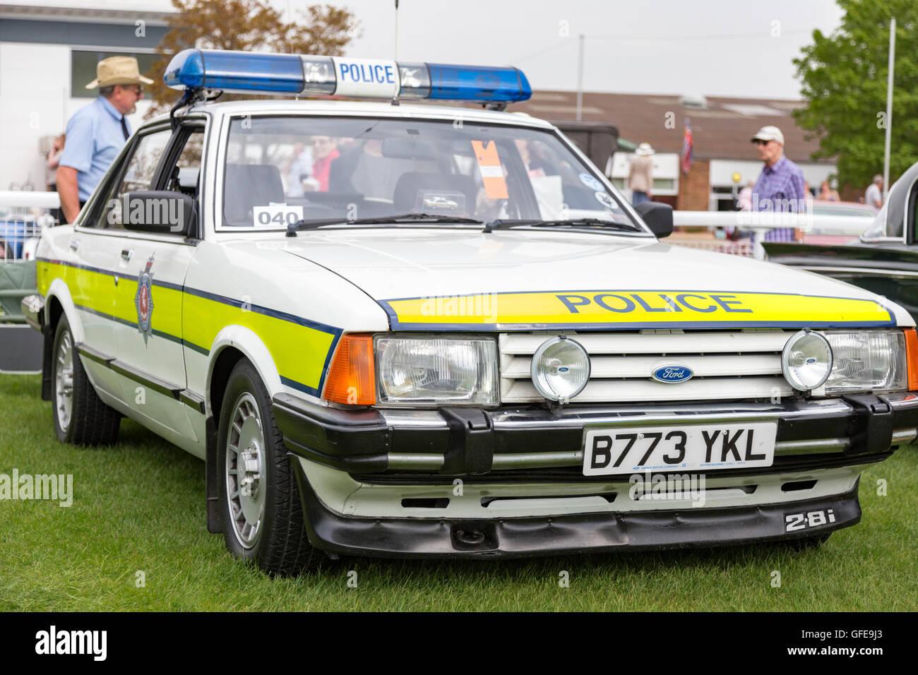 A ford granada 2 8i mk2 police car at a classic car show england uk