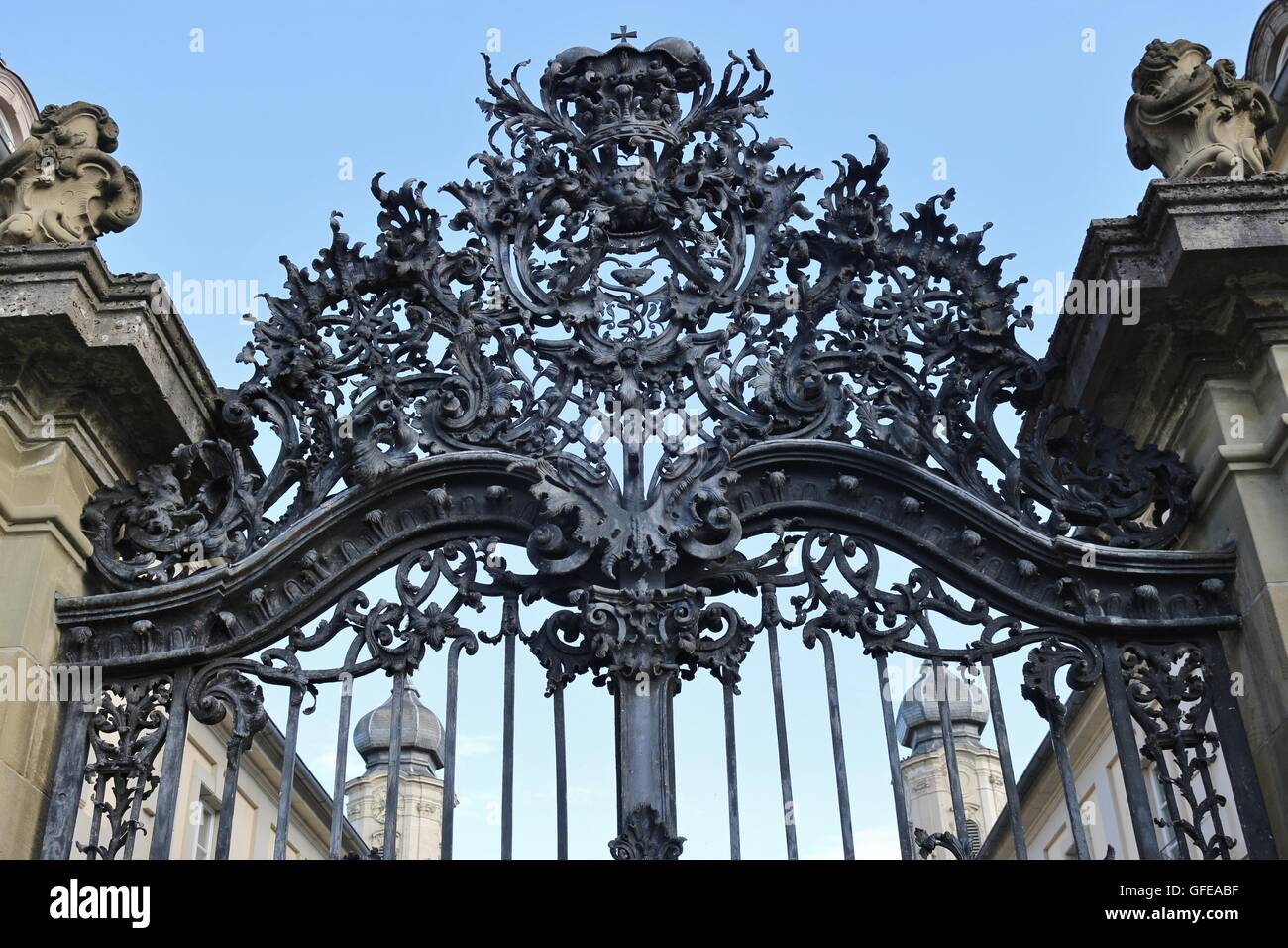 Wrought Iron Gate Of The Baroque Palace Werneck In Werneck