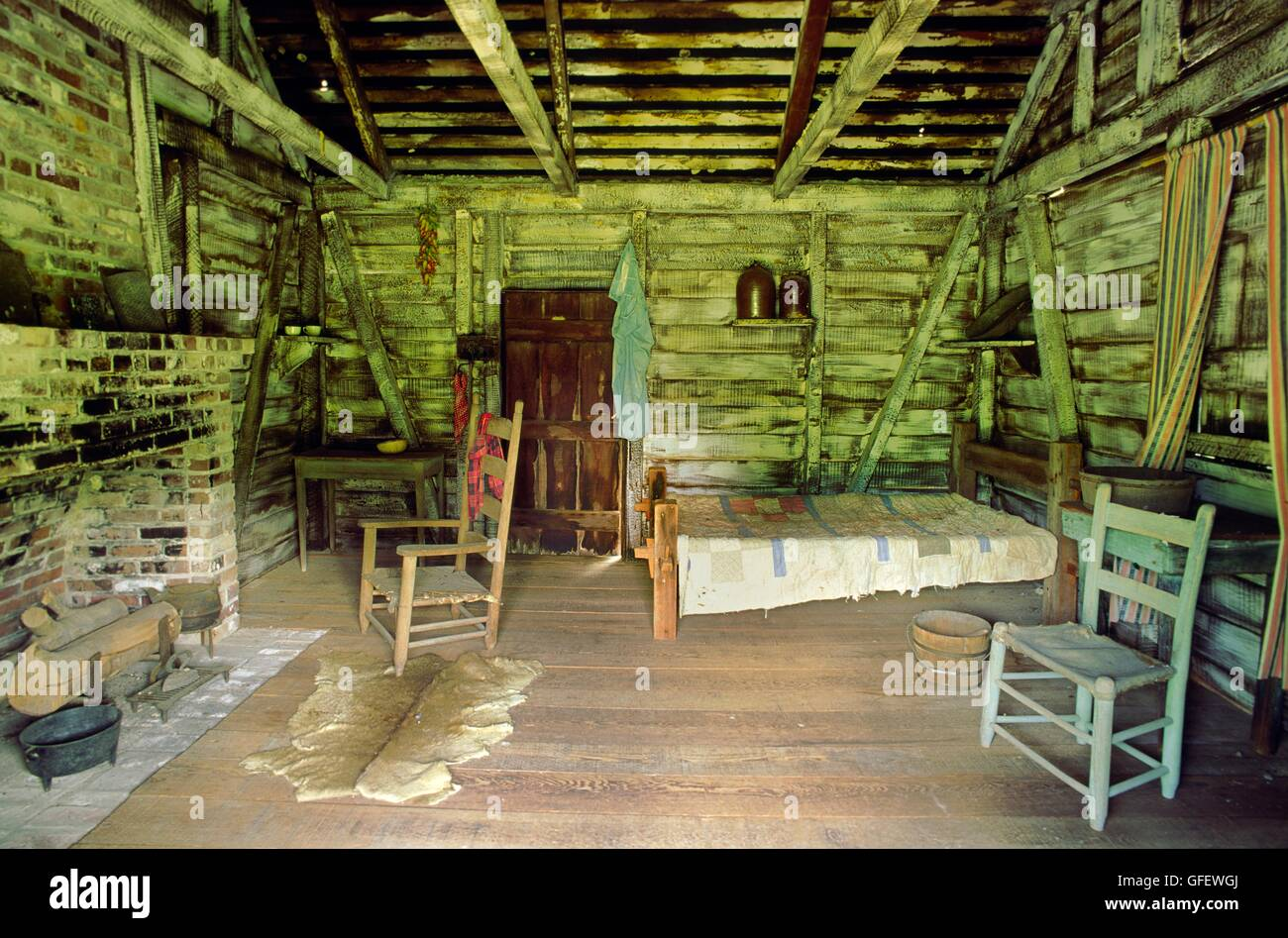 Negro African American Slave Cabin Interior Circa 1835 Louisiana Stock Photo Royalty Free