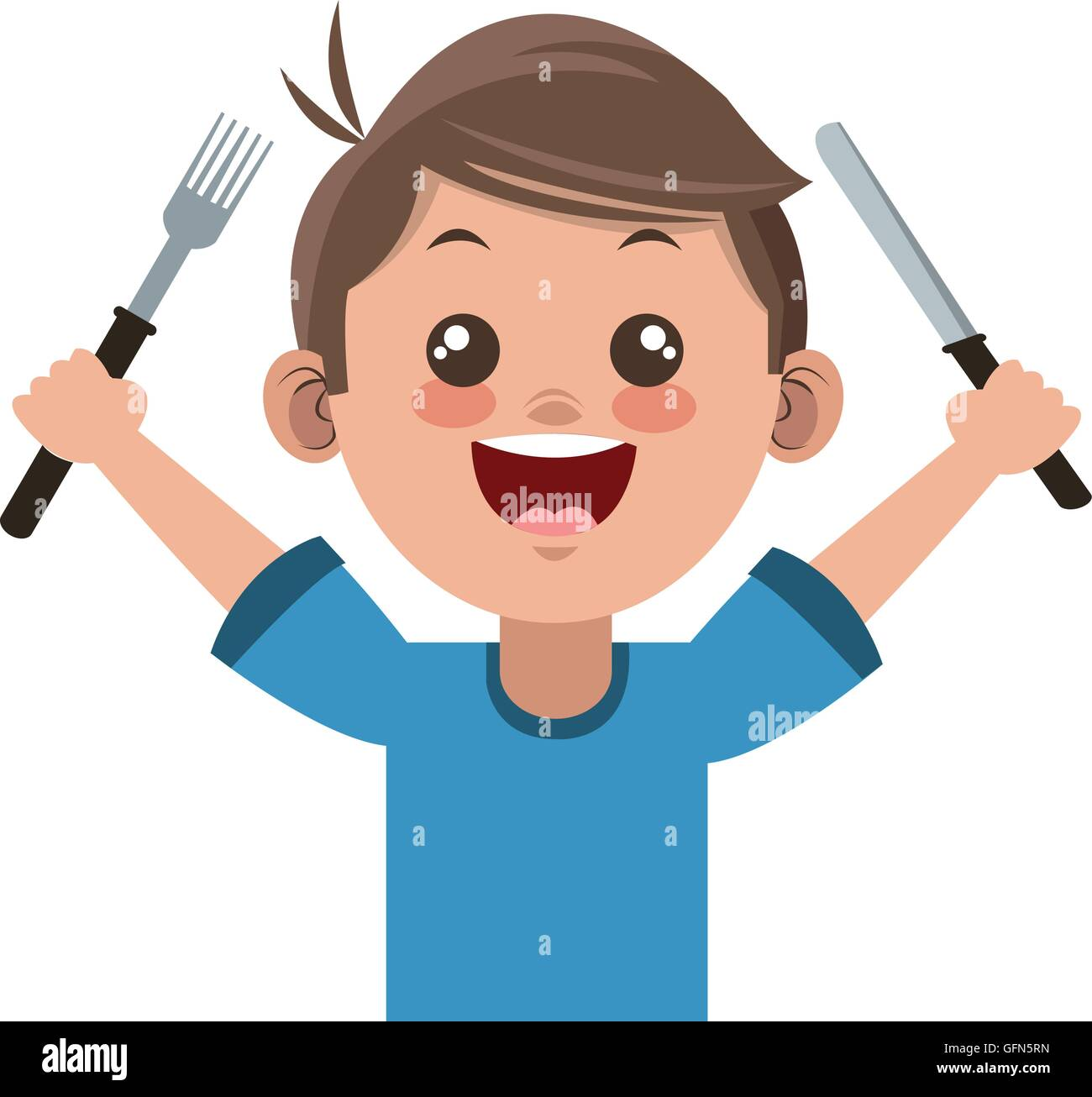 happy boy cartoon holding fork and knife icon Stock Vector ...