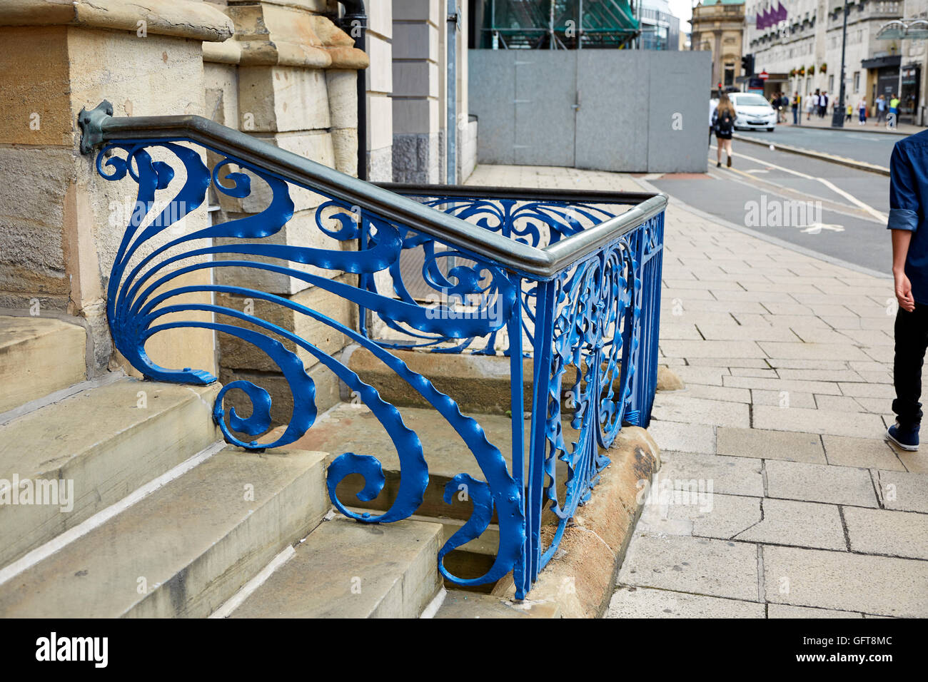 Wrought Iron Artwork Blue Painted Art Nouveau Wrought Iron Railings Swirling Ribbons
