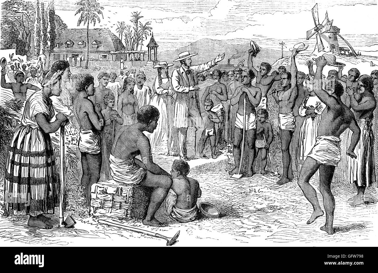 Following The Abolition Of Slavery In British Empire Slaves On A West Indian Plantation Are Given Their Freedom