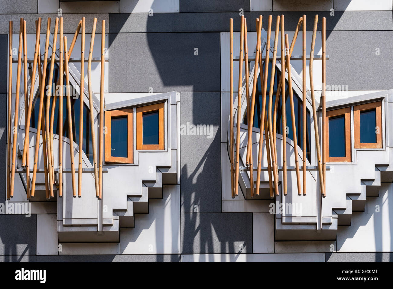 Architectural Detail Of Windows On Facade On Scottish Parliament - Building architectural windows