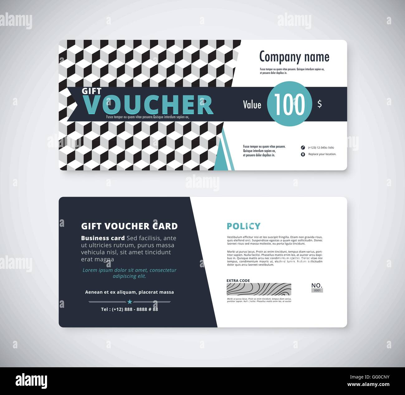 Abstract Gift Voucher Template Card. Business Voucher Card Template. Vector  Stock  Business Voucher Template