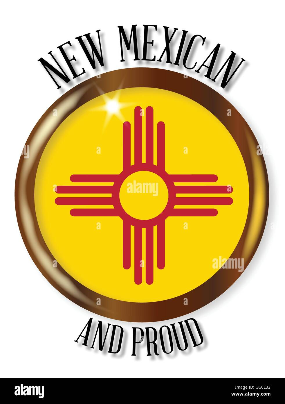 New mexico state flag button with a gold metal circular border new mexico state flag button with a gold metal circular border over a white background with the text new mexican and proud buycottarizona