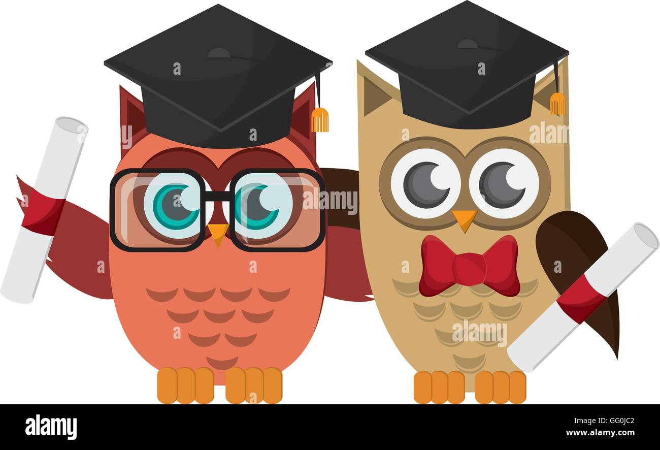 owl cartoon with graduation cap and diploma icon stock image