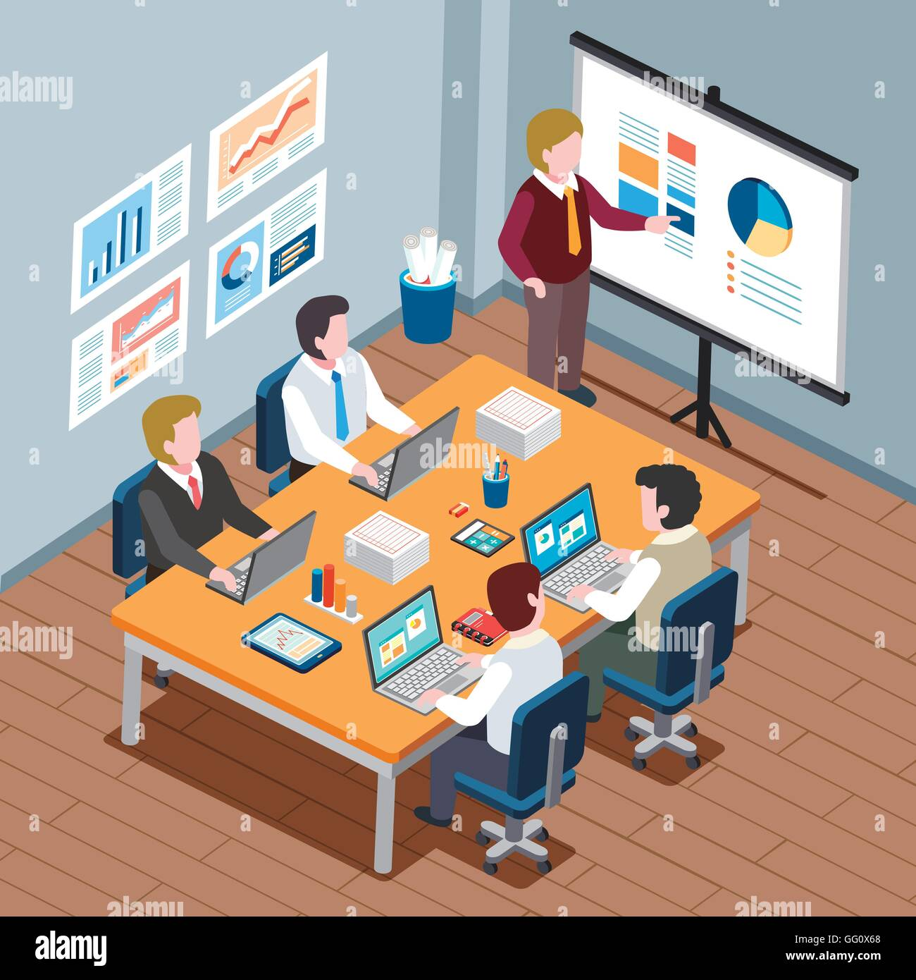 Flat 3d Isometric Design Office Meeting Concept Stock