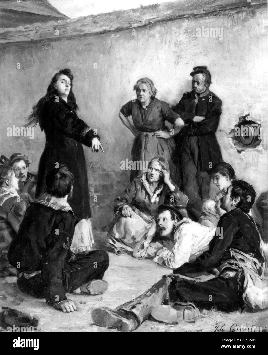 louise michel talking to a group of communards painting by jules stock photo royalty free. Black Bedroom Furniture Sets. Home Design Ideas