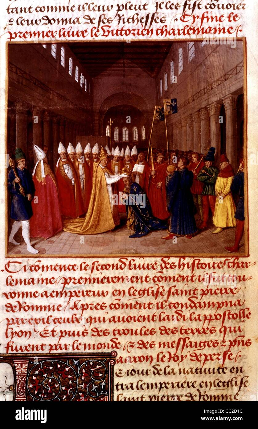 Jean Fouquet, Chronicles of St. Denis. Coronation of Charlemagne ...