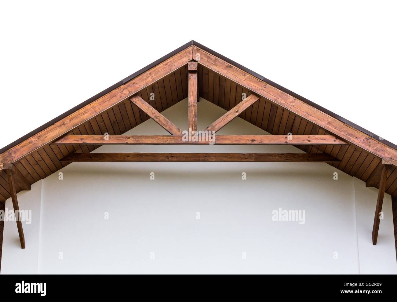 Gable Of New Home With Wooden Roof Rafters