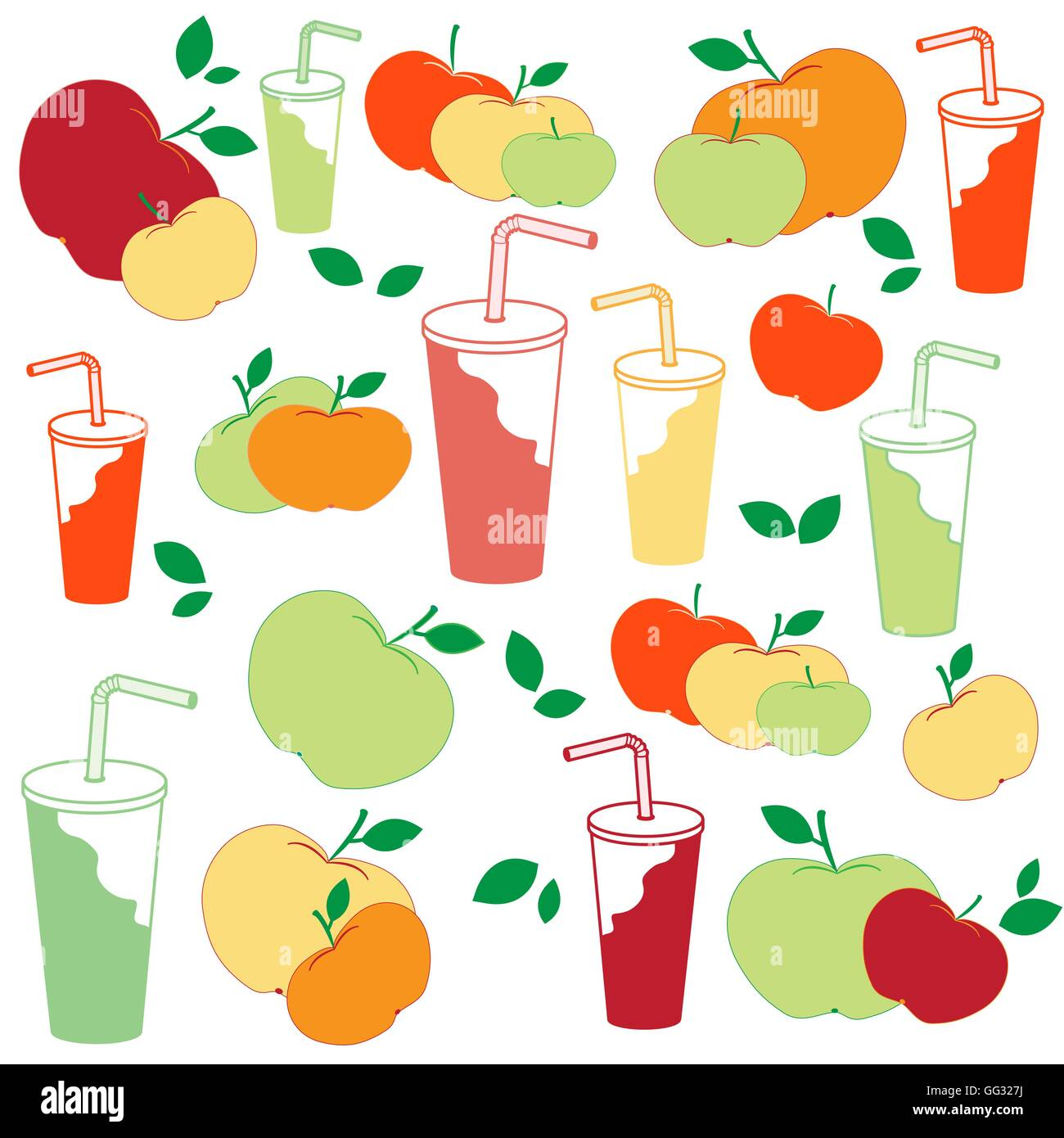 Nice picture of apples and apple juice rich in vitamin C on a ...