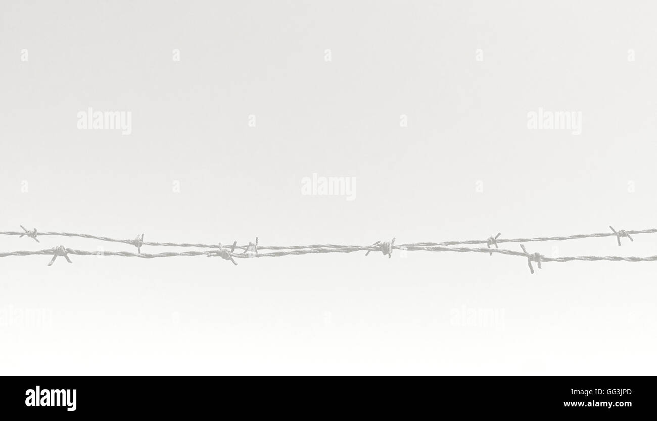 Rusty barbed wire fence closeup horizontal image concept for Stock ...