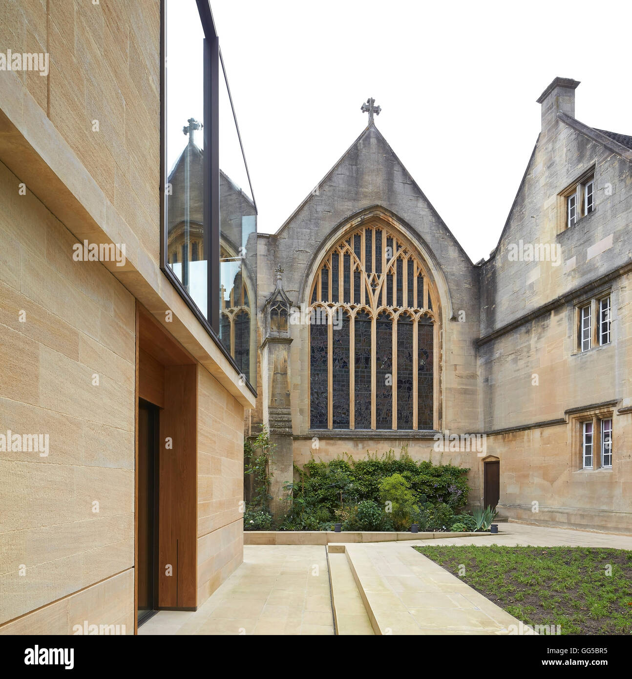 Modern Architecture Oxford modern facade in juxtaposition to chapel window. the garden